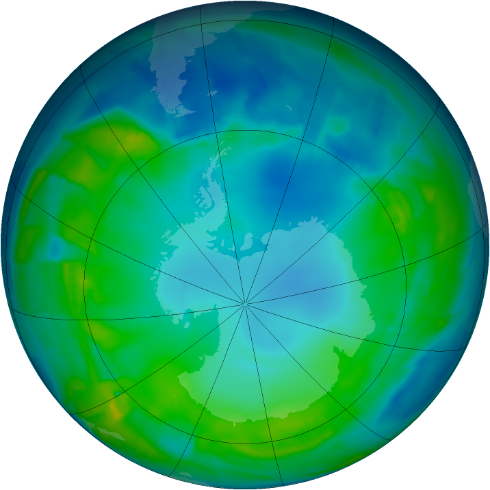 Antarctic ozone map for 15 May 2015